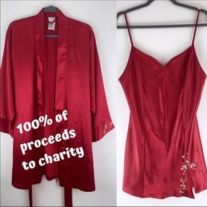 NONPROFIT Vintage Red Silky Chemise Slip and Robe